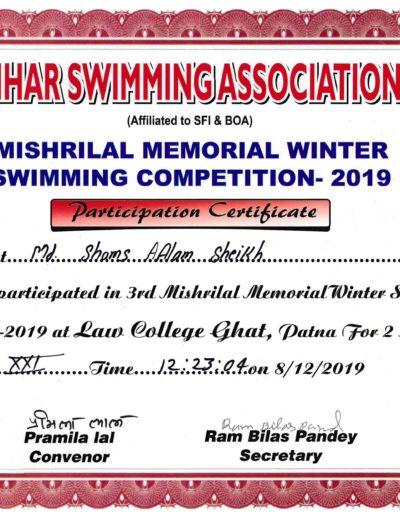 Fastest Open Water Swimming, Dec 2019